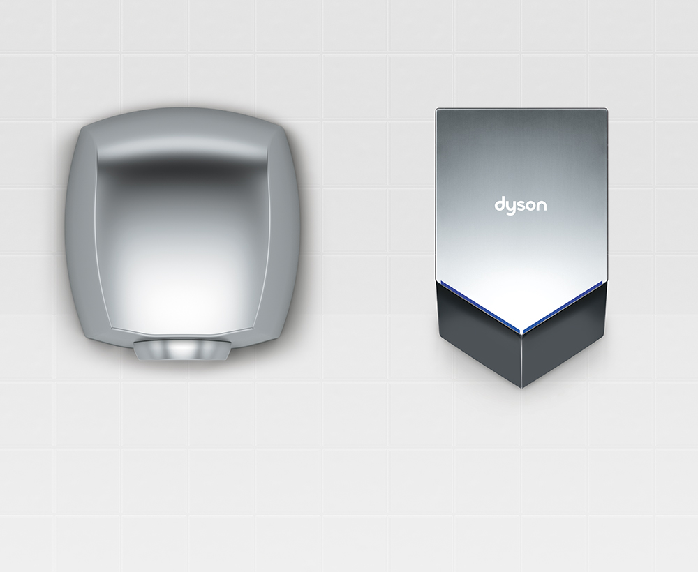 Comparison between Airblade V hand dryer and other hand dryers